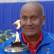 Sri Chinmoy with the Peace Torch