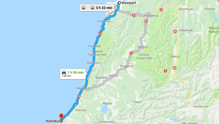 Westport to Hokitika via Greymouth – Friday March 22