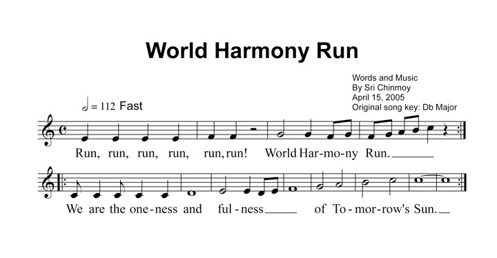 The World Harmony Run song – by Sri Chinmoy