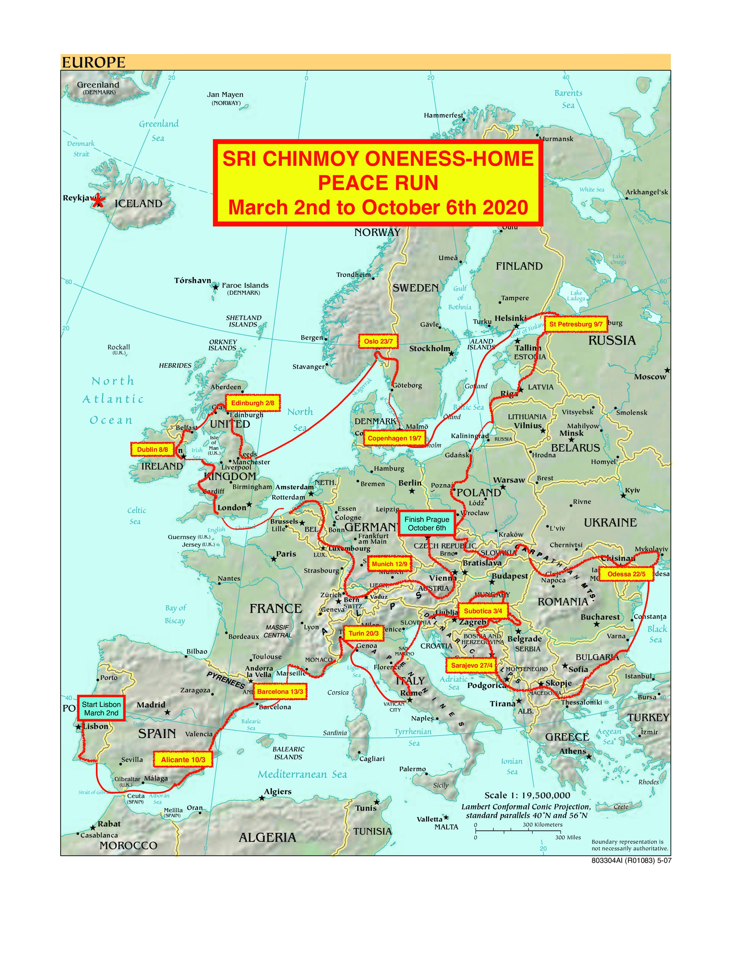 Home Runs 2020.European Continent The Sri Chinmoy Oneness Home Peace Run