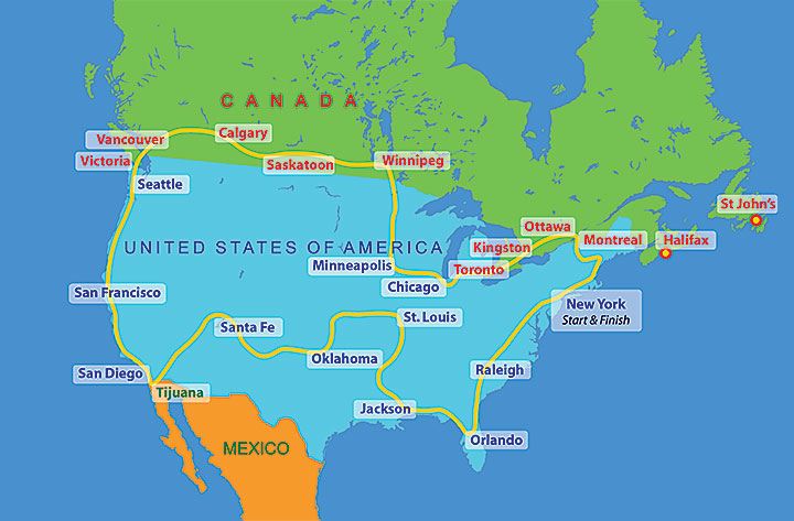United States Of America Route The Sri Chinmoy Oneness - Ottawa on the us map