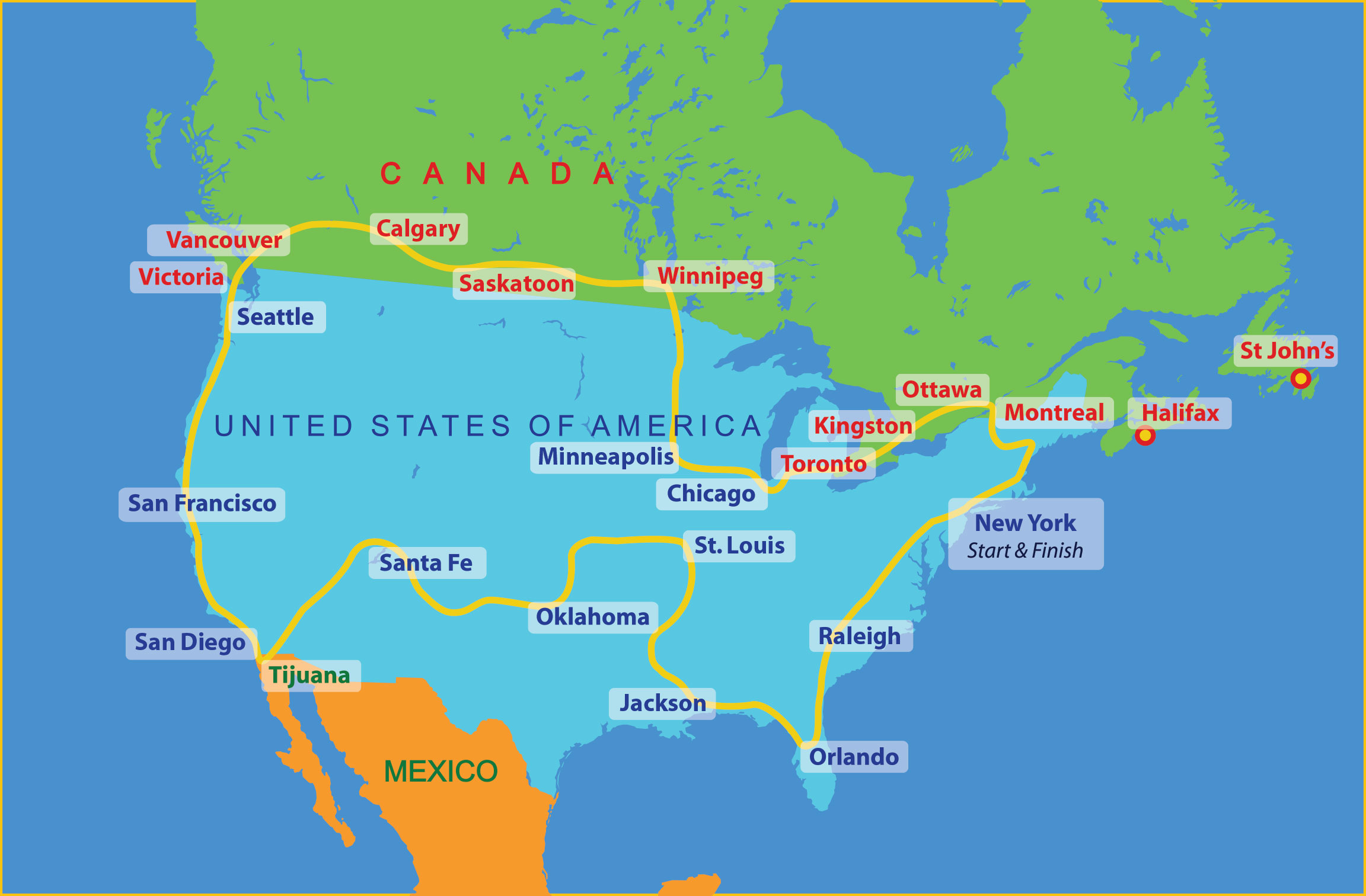 United States Of America  Route  The Sri Chinmoy Oneness - America map chicago